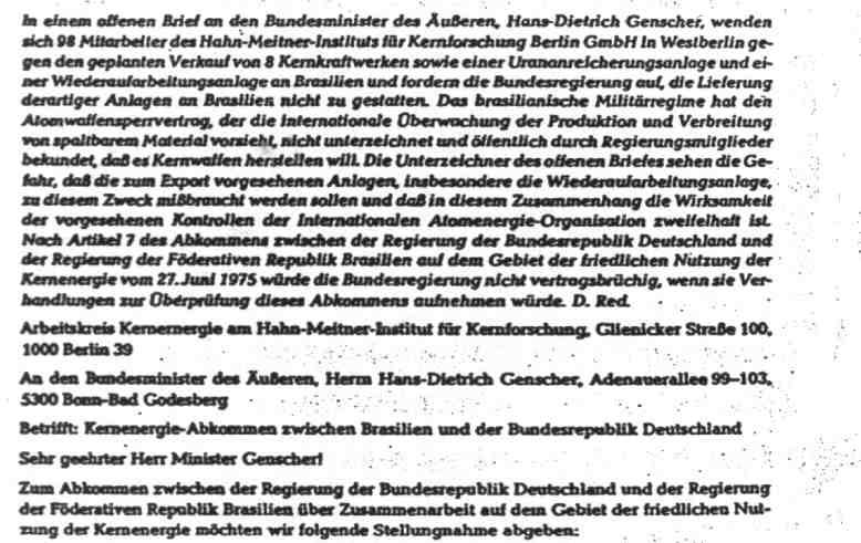98 HMI-Mitarbeiter zur deutschen Nuklear-Proliferation an Brasilien